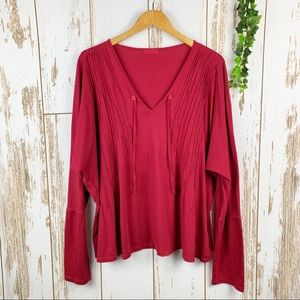 CP Shades Carmine Red Cotton Long Sleeve Tunic